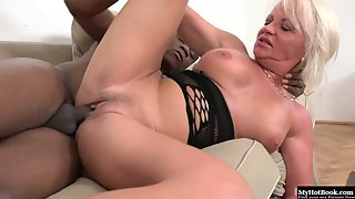 Horny mature skank slammed in both her holes by a big black dick