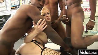 Aaralyn Barra starts moaning while two black guys bang her tight ass
