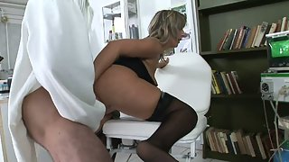 Doctor Shaves his Patients Hairy Pussy and Fucks her