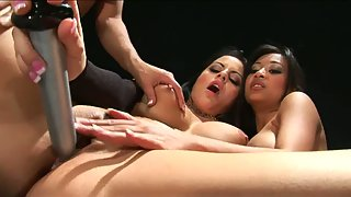 Undressed Lesbian Babes Getting Dildo Drilled Their Pussies until Orgasm