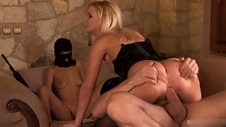 Blonde in hot black lingerie getting her ass fucked