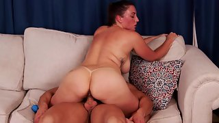 Big ass mom rides stepsons' hard dick