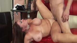 Busty brunette MILF gets fucked and facialized