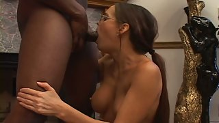 Glasses Wearing Brunette Teacher Sucks Fat Dark Dick on Her Knees
