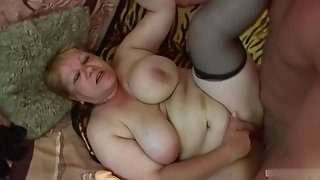 Chubby blonde granny likes younger cock