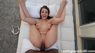 Pretty brunette gets fucked by black dude POV