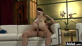 Tattooed and oiled up hottie rides dick