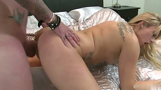 Blonde Brittany Bardot riding a huge young dick