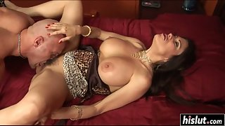 Hairy Pussy Babe Shelia Marie on Bed Slammed by Bald Dude Dick