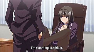 Busty school president gets extorted for a footjob and anime facial cumshot