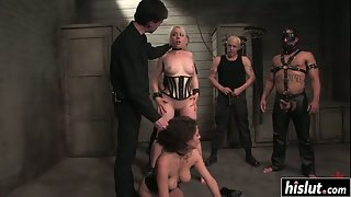 Undressed Slave Lorelei Lee and Princess Donna Dolore Nailed by Stiff Dick