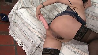 Chubby mature in lingerie solo masturbates with her toys