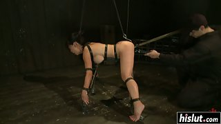 Big Boobs Whore Tia Ling Takes Shaved Pussy Rubbing in Bondage Gear