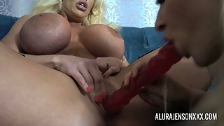 Blonde Big Boobs Alura and Dolly Fox Lick with Toying Their Muffs