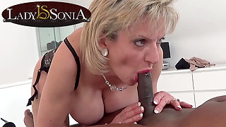 Lady Sonia giving a massage and blowjob to a BBC
