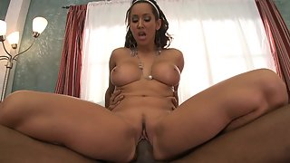 Hot brunette gets pussy stuffed by a huge black dong