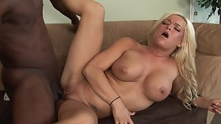 Stunning busty blonde banged by black man