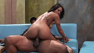 Attractive ebony takes BBC in her asshole