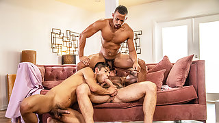 Gay superstars Zario and Calix fucks stepdad Drew in threesome