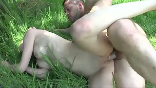 Redhead Teen Undressed then Slammed by Stiff Dick Dude Outdoors