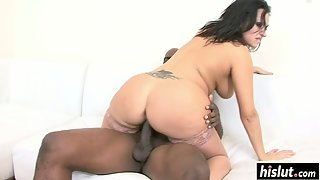 Dark Hair Babe Vannah Sterling Shows Her Big Melons Getting Interracial Slammed