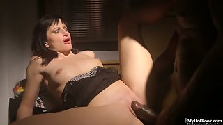 Brunette babe in black lingerie getting ass fucked by black dong