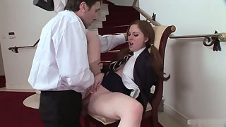 Horny schoolgirl rammed hard by a huge hunky dick