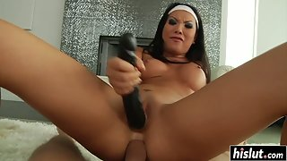 Brunette Teen Asa Akira Enjoys Asshole Nailing While Pussy Rubbing by Dildo