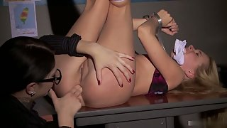Erika Bellucci and Lina Napoli have hard bdsm sex with a strap-on