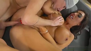 After Sucked Brunette Babe Getting Nailed by Stiff Dick