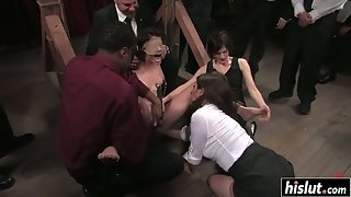 Bondage Slave Enjoys Sucking and Gangbang Hammered in Front of Crowd
