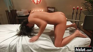 Undressed Babe Charley Chase Spread Her Legs then Enjoys Machine Dildo