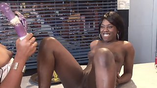 Two spicy ebony chicks fucking with toys