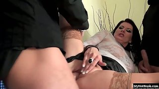 Classy dark haired bitch rammed by two dicks and pissed on
