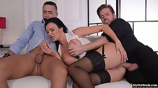 Jasmine Jae fucked hard by two guys