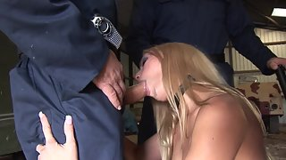 Two horny mechanics are nailing hot blonde hooker in garage