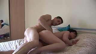 Glasses Wearing Babe in Living Room Slammed by Stiff Dick of Dude