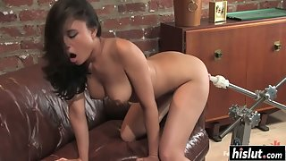 Busty Asian Babe Annie Cruz Enjoys Machine Dildo in Her Pussy