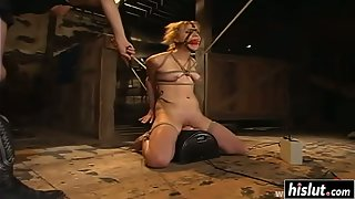 Tied Up Babe Jasmine Byrne Getting BDSM Hammered by Toys in a Dungeon
