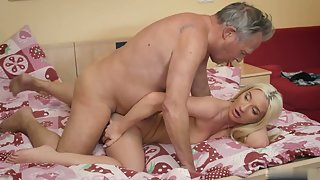 Horny blonde slut gets rammed by an old cock