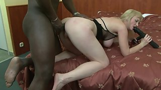 Blonde mommy takes BBC in her asshole