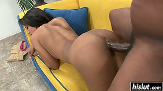 Stunning Babe Rhianna Ryan Suck then Rides Monster Meaty Dick on Couch