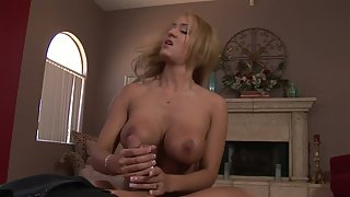 Big Melons Blonde Indoors Undressed and Gives Handjob