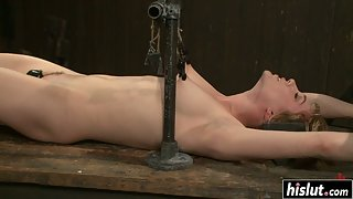 Skinny Girl Lily Labeau Takes Shaved Pussy Rubbing from Guy in Bondage